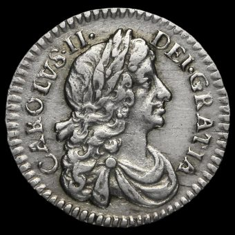 1674 Charles II Early Milled Silver Maundy Twopence Obverse