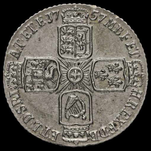 1757 George II Early Milled Silver Sixpence Reverse