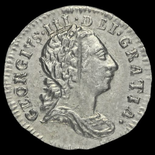1780 George III Early Milled Silver Maundy Penny Obverse