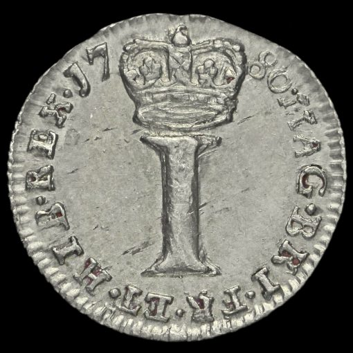 1780 George III Early Milled Silver Maundy Penny Reverse