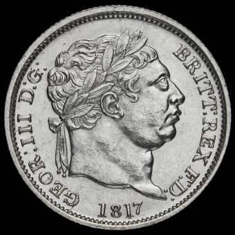 1817 George III Milled Silver Shilling Obverse