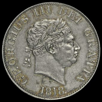 1818 George III Milled Silver Half Crown Obverse