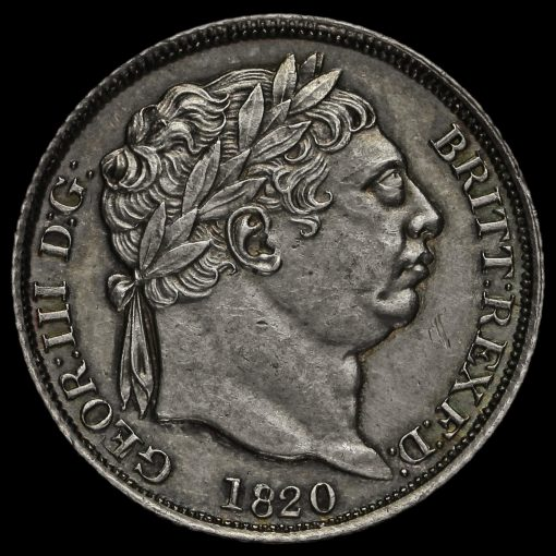 1820 George III Milled Silver Sixpence Obverse