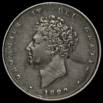1829 George IV Bare Head Milled Silver Shilling Obverse
