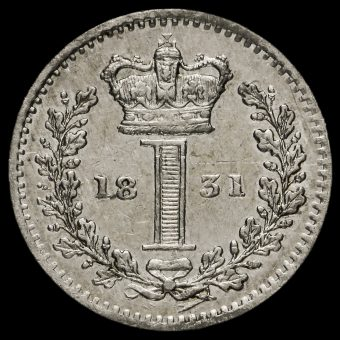 1831 William IV Milled Silver Maundy Penny Reverse