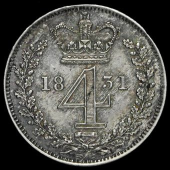 1837 William IV Milled Silver Maundy Fourpence Reverse