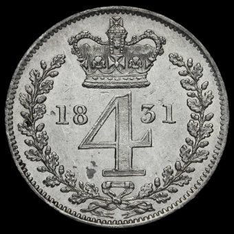 1831 William IV Milled Silver Maundy Fourpence Reverse