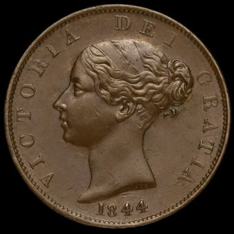 1844 Queen Victoria Young Head Copper Halfpenny Obverse
