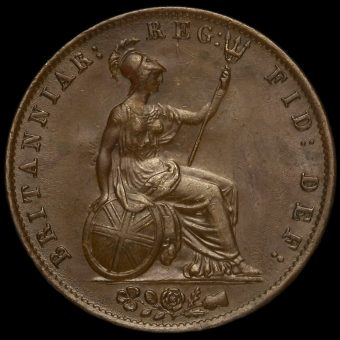1844 Queen Victoria Young Head Copper Halfpenny Reverse
