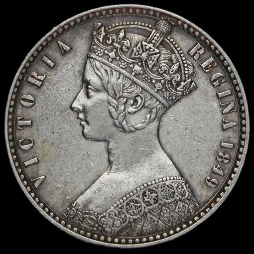 1849 Queen Victoria Godless Florin Obverse