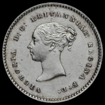 1853 Queen Victoria Young Head Silver Maundy Twopence Obverse