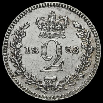 1853 Queen Victoria Young Head Silver Maundy Twopence Reverse