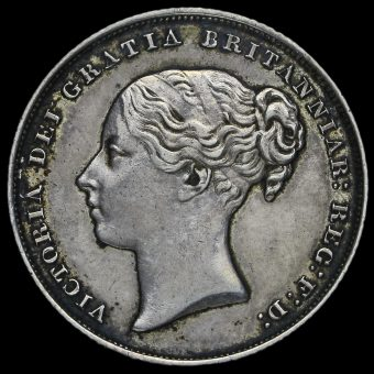 1853 Queen Victoria Young Head Silver Shilling Obverse
