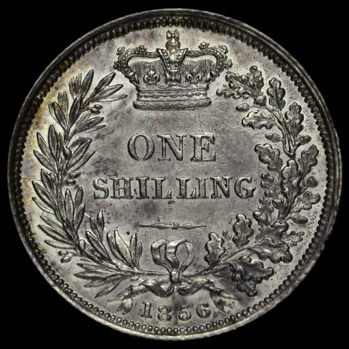 1856 Queen Victoria Young Head Silver Shilling Reverse