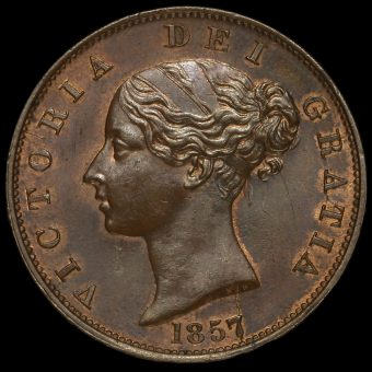 1857 Queen Victoria Young Head Copper Halfpenny Obverse