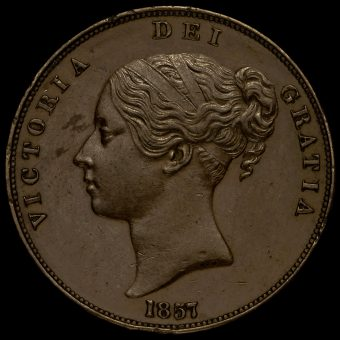 1857 Queen Victoria Young Head Copper Penny Obverse