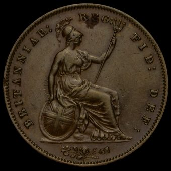 1857 Queen Victoria Young Head Copper Penny Reverse