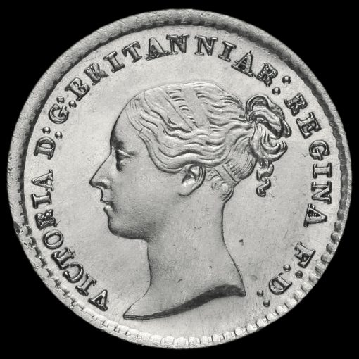 1865 Queen Victoria Young Head Silver Maundy Penny Obverse