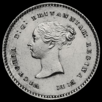 1867 Queen Victoria Young Head Silver Maundy Twopence Obverse