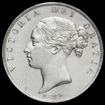 1882 Queen Victoria Young Head Silver Half Crown Obverse