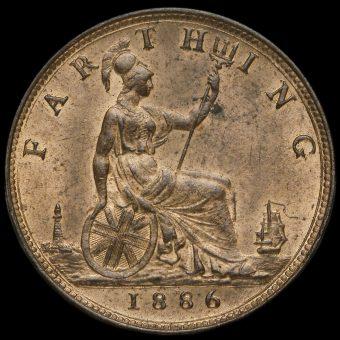 1886 Queen Victoria Bun Head Farthing Reverse