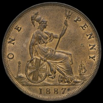 1887 Queen Victoria Bun Head Penny Reverse