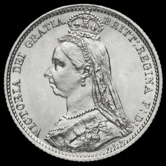 1887 Queen VictoriaJubilee Head Silver Sixpence Obverse
