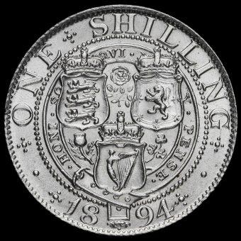 1894 Queen Victoria Veiled Head Silver Shilling Reverse