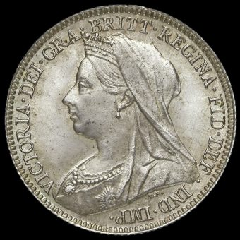 1895 Queen Victoria Veiled Head Silver Sixpence Obverse