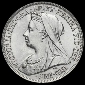 1896 Queen Victoria Veiled Head Silver Shilling Obverse