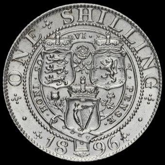 1896 Queen Victoria Veiled Head Silver Shilling Reverse