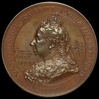 1897 Queen Victoria Diamond Jubilee Large Copper Medal by F Bowcher Obverse