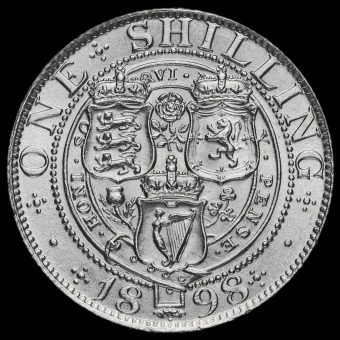 1898 Queen Victoria Veiled Head Silver Shilling Reverse