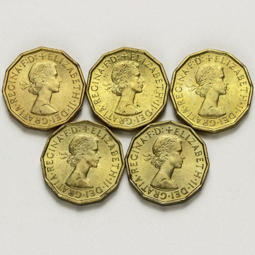 1963-1967 Queen Elizabeth II Brass Threepence Date Run Obverse