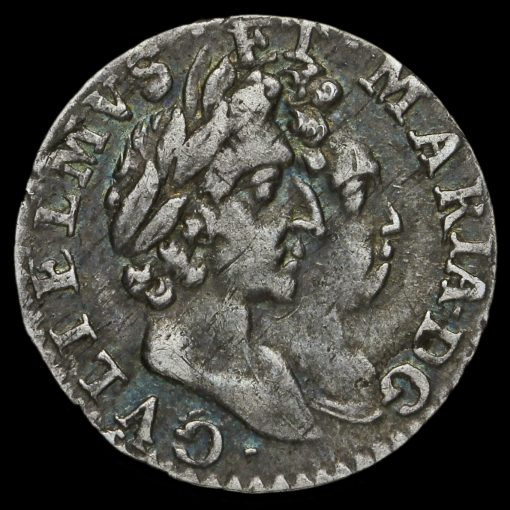 1689 William and Mary Early Milled Silver Maundy Twopence Obverse