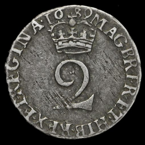 1689 William and Mary Early Milled Silver Maundy Twopence Reverse
