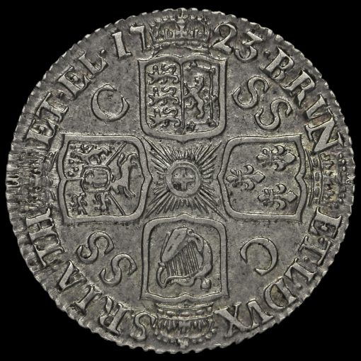1723 George I Early Milled Silver SSC Shilling Reverse