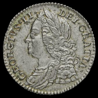 1750 George II Early Milled Silver Sixpence Obverse