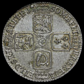 1750 George II Early Milled Silver Sixpence Reverse