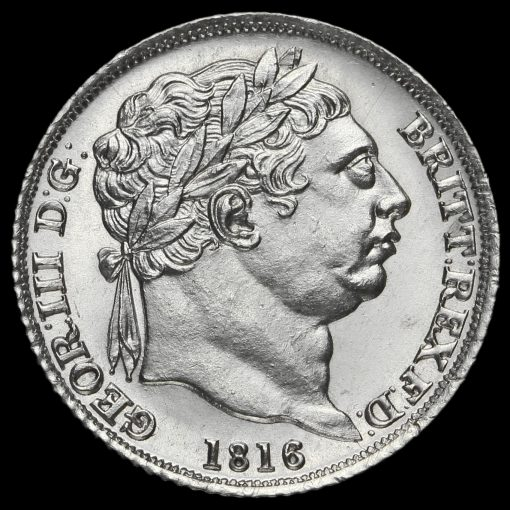 1816 George III Milled Silver Sixpence Obverse