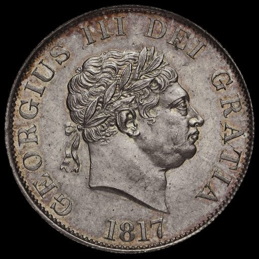 1817 George III Milled Silver Half Crown Obverse