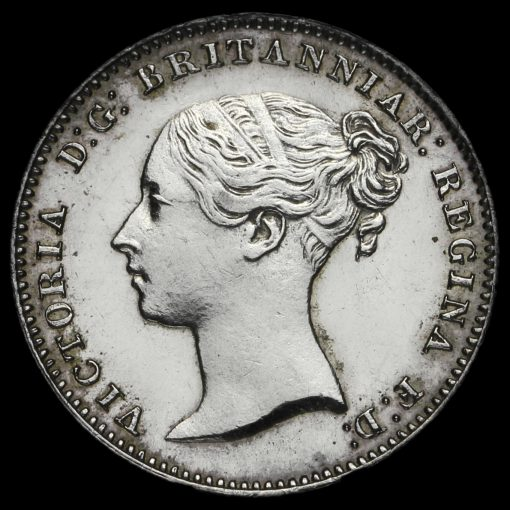1850 Queen Victoria Young Head Silver Maundy Threepence Obverse