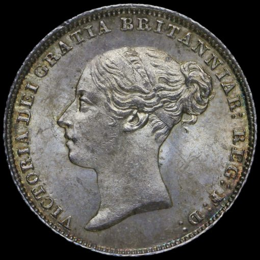 1853 Queen Victoria Young Head Silver Sixpence Obverse
