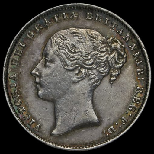 1865 Queen Victoria Young Head Silver Shilling Obverse
