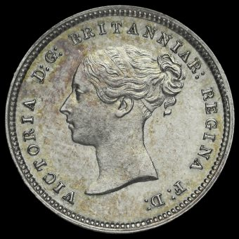 1872 Queen Victoria Young Head Silver Maundy Fourpence Obverse