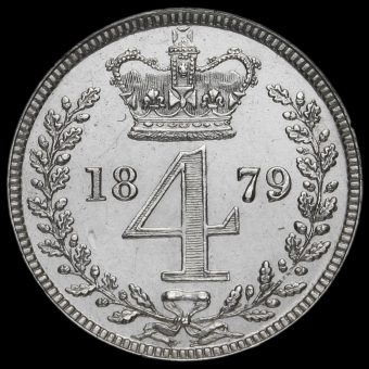 1879 Queen Victoria Young Head Silver Maundy Fourpence Reverse