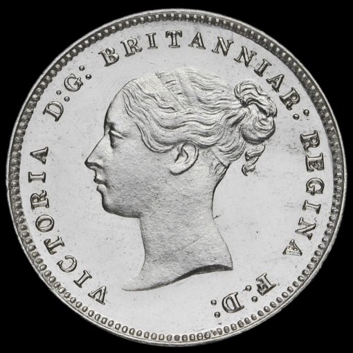 1882 Queen Victoria Young Head Silver Maundy Fourpence Obverse