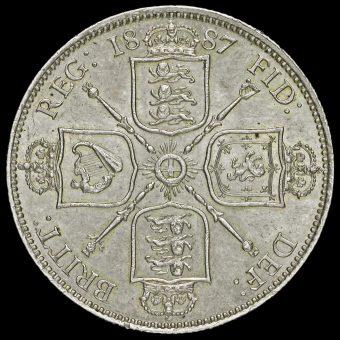 1887 Queen Victoria Jubilee Head Silver Florin Reverse