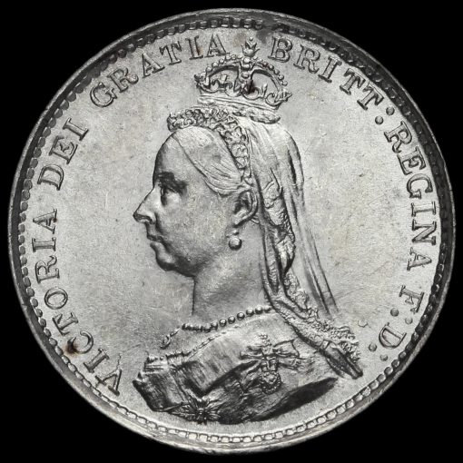 1888 Queen Victoria Jubilee Head Silver Threepence Obverse
