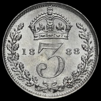 1888 Queen Victoria Jubilee Head Silver Threepence Reverse